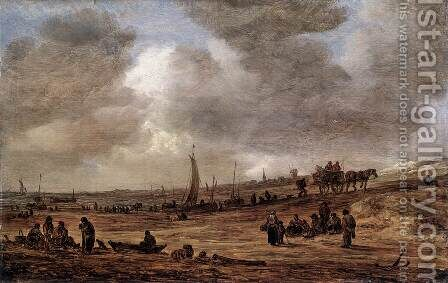 A Beach with Fishing Boats by Jan van Goyen - Reproduction Oil Painting
