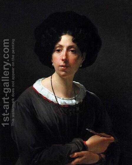 Self-Portrait by Antoinette Cecile Hortense Lescot Haudebourt - Reproduction Oil Painting