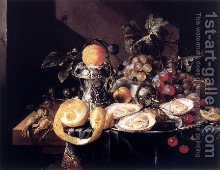 Still-Life with Oysters, Lemons and Grapes by Cornelis De Heem - Reproduction Oil Painting