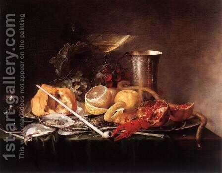 Still-Life, Breakfast with Champaign Glass and Pipe by Jan Davidsz. De Heem - Reproduction Oil Painting
