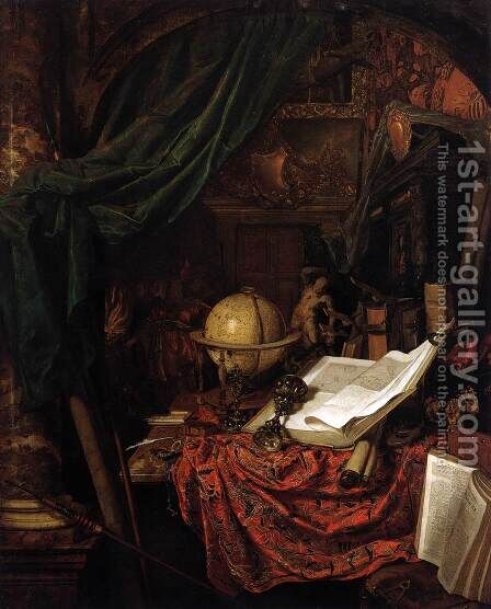 Still-Life with Globe, Books and Chinese Silk by Jan Van Der Heyden - Reproduction Oil Painting