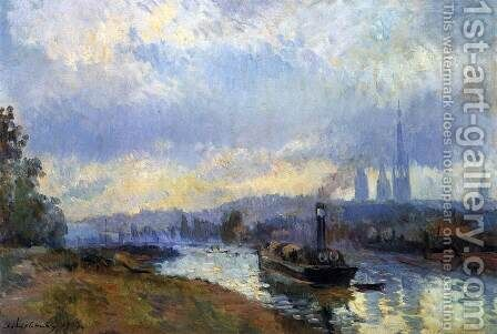 Barges at Rouen by Albert Lebourg - Reproduction Oil Painting