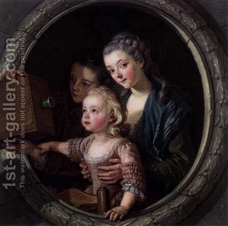 The Camera Obscura by Charles-Amedee-Philippe van Loo - Reproduction Oil Painting