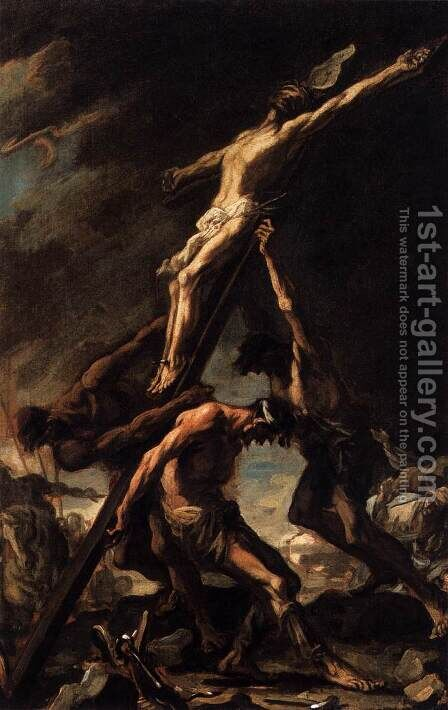 Raising of the Cross by Alessandro Magnasco - Reproduction Oil Painting