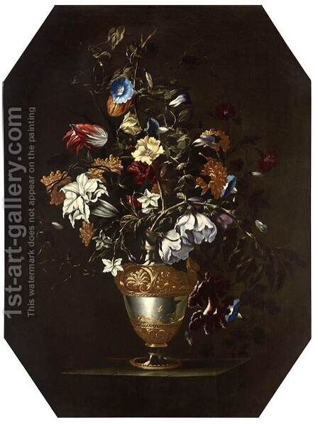 A Vase of Flowers by dei Fiori (Nuzzi) Mario - Reproduction Oil Painting