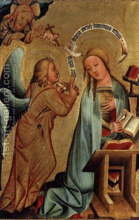 St Peter (Grabow) Altarpiece Annunciation by (Master of Minden) Bertram - Reproduction Oil Painting