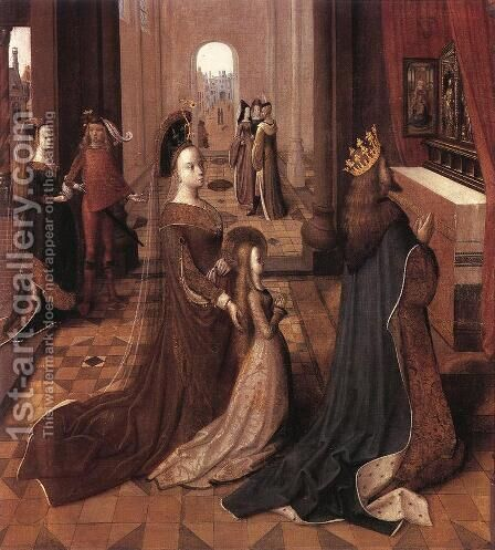 Ursula with her Parents at the Altar by Master of the Legend of St. Ursula - Reproduction Oil Painting