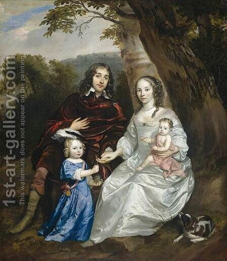 Govert van Slingelandt and Family by Jan Mijtens - Reproduction Oil Painting