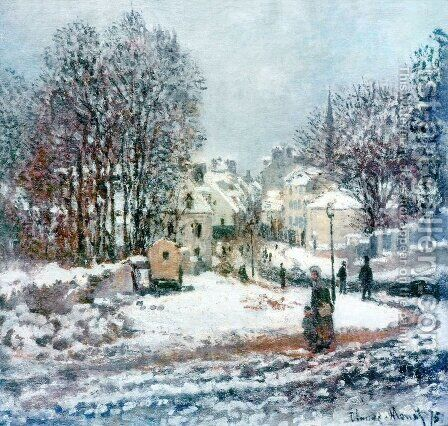 Entrance of the Grande Rue at Argenteuil in Winter by Claude Oscar Monet - Reproduction Oil Painting