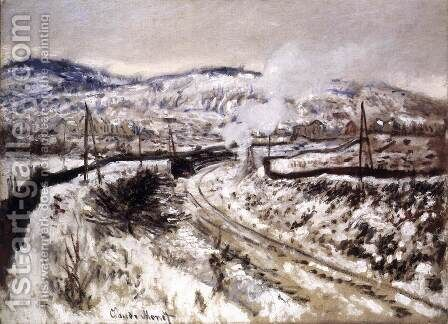 Train in the Snow at Argenteuil by Claude Oscar Monet - Reproduction Oil Painting