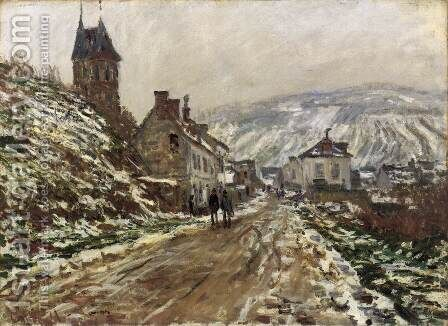 Road into Vetheuil in Winter by Claude Oscar Monet - Reproduction Oil Painting