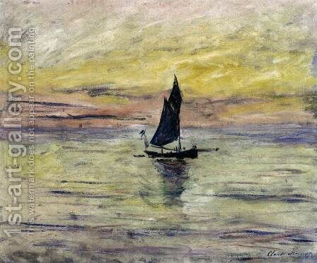 Yacht, Effect of Evening by Claude Oscar Monet - Reproduction Oil Painting