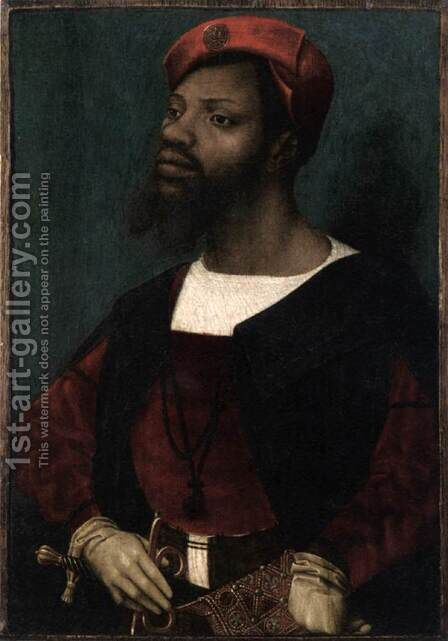 Portrait of an African Gentleman by Jan Mostaert - Reproduction Oil Painting