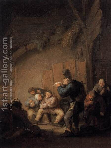 Comedian Reading in a Tavern by Adriaen Jansz. Van Ostade - Reproduction Oil Painting