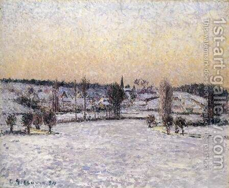 Snowy Landscape, Eragny, Evening by Camille Pissarro - Reproduction Oil Painting