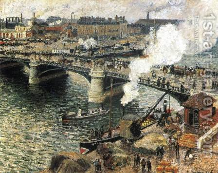 Pont Boildieu in Rouen in a Drizzle by Camille Pissarro - Reproduction Oil Painting