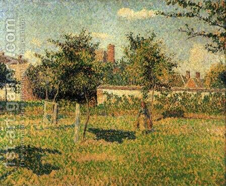Woman in the Orchard. Spring Sunshine in a Field, Eragny by Camille Pissarro - Reproduction Oil Painting