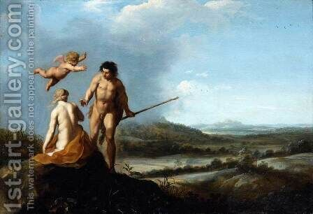 Nymph and Shepherd in Landscape by Cornelis Van Poelenburgh - Reproduction Oil Painting