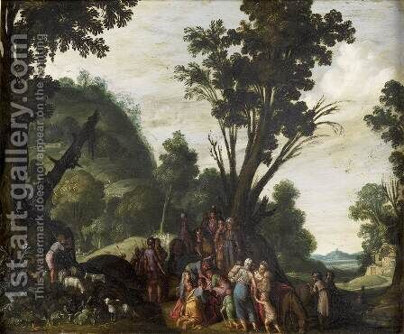 Meeting of Jacob and Esau by Jacob Pynas - Reproduction Oil Painting