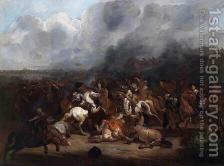 Cavalry Engagement by August Querfurt - Reproduction Oil Painting