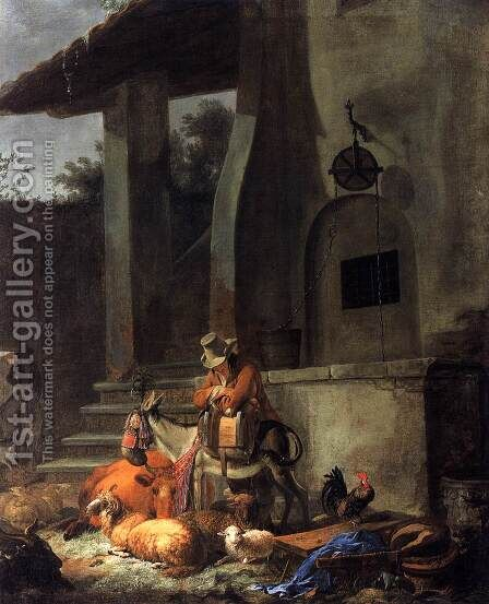 Rest by the Draw Well by Carl Borromaus Andreas Ruthart - Reproduction Oil Painting