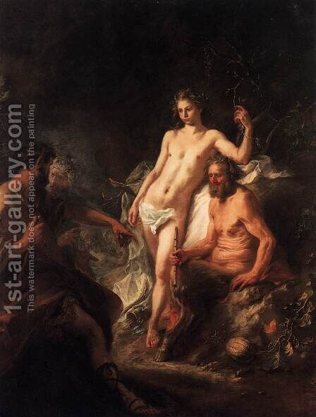 The Judgment of King Midas between Apollo and Marsyas by Martin Johann Schmidt - Reproduction Oil Painting