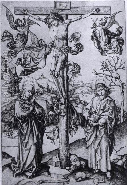 Christ on the Cross with Four Angels by Martin Schongauer - Reproduction Oil Painting