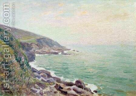 On the Cliffs, Langland Bay, Wales 2 by Alfred Sisley - Reproduction Oil Painting