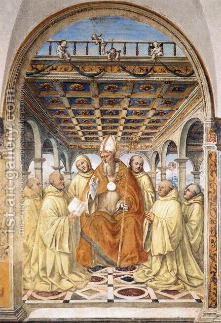 The Confirmation of the Olivetan Order by the Bishop of Arezzo by Il Sodoma (Giovanni Antonio Bazzi) - Reproduction Oil Painting