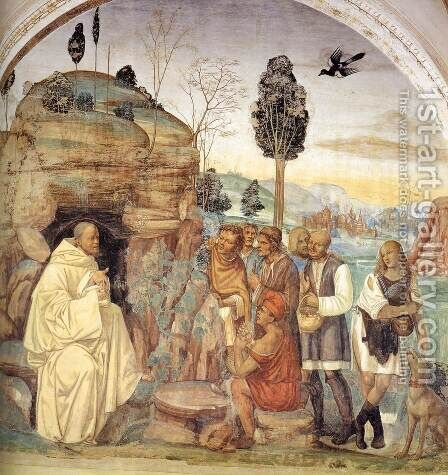 Life of St Benedict, Scene 7 Benedict Instructs the Peasants by Il Sodoma (Giovanni Antonio Bazzi) - Reproduction Oil Painting