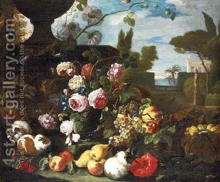 Flowers and Fruit in Landscape by Giovanni Paolo Castelli  (lo Spadino) - Reproduction Oil Painting