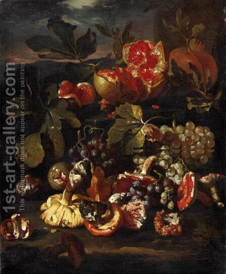Still-Life with Fruit by Giovanni Paolo Castelli  (lo Spadino) - Reproduction Oil Painting