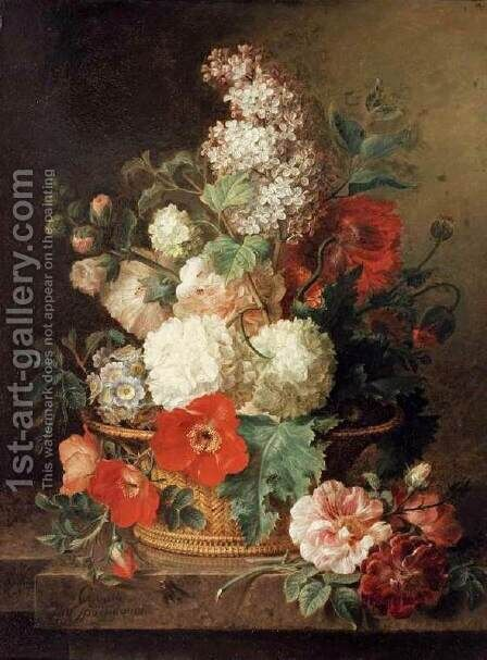 Basket of Flowers by Cornelis van Spaendonck - Reproduction Oil Painting