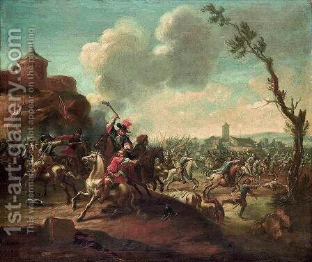 Battle Scene by Jan Jacobsz. Van Der Stoffe - Reproduction Oil Painting