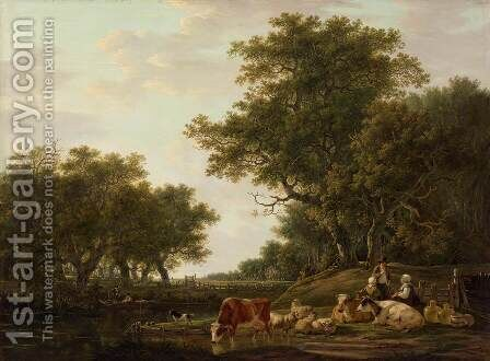 Landscape with a Shepherd by Jacob van Strij - Reproduction Oil Painting