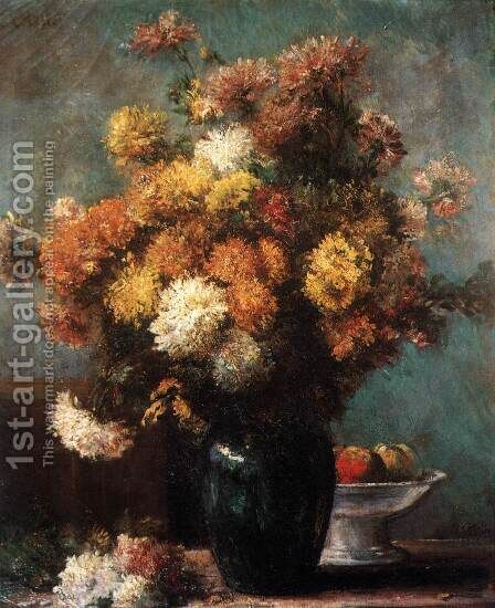Still-Life with Flowers by Charles Victor  Tillot - Reproduction Oil Painting