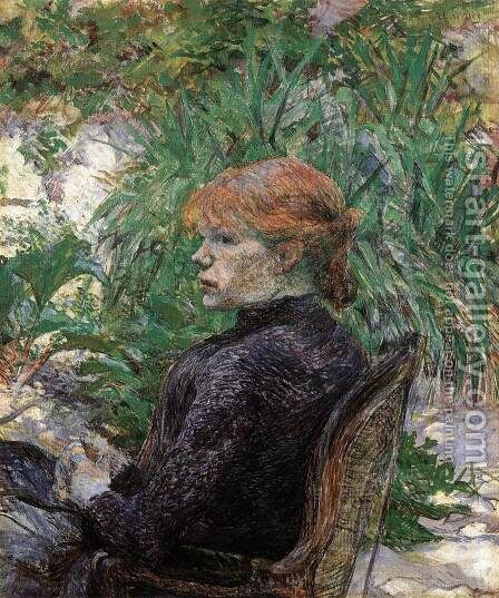 Red-Haired Girl in Monsieur Forest's Garden (Carmen Gaudin) by Toulouse-Lautrec - Reproduction Oil Painting