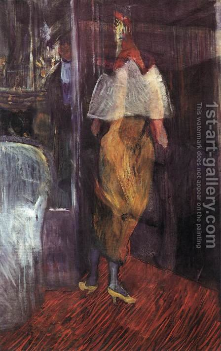 Woman in Evening Dress at the Door of a Theatre Box by Toulouse-Lautrec - Reproduction Oil Painting