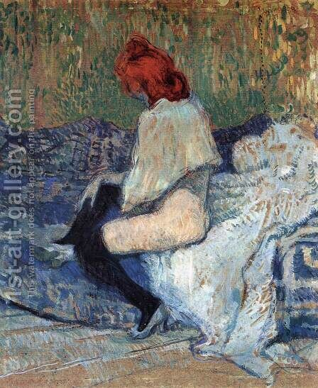 Red-Haired Woman on a Sofa by Toulouse-Lautrec - Reproduction Oil Painting