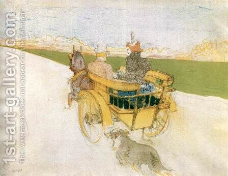 Joyride in the Country or The English Cart by Toulouse-Lautrec - Reproduction Oil Painting