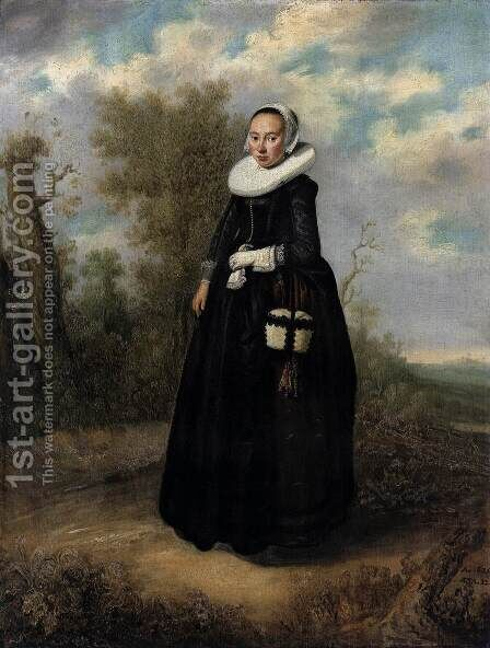 A Young Woman in a Landscape by Dutch Unknown Masters - Reproduction Oil Painting