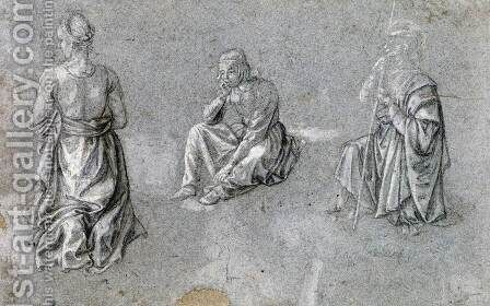 Studies of Two Females and a Male Saint by Italian Unknown Masters - Reproduction Oil Painting