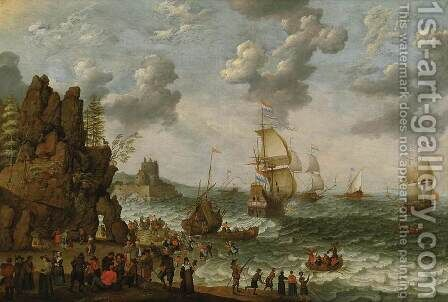 Ships off Rocky Coast by Adam Willaerts - Reproduction Oil Painting