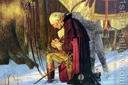 Prayer at Valley Forge Detail by Arnold Friberg - Reproduction Oil Painting