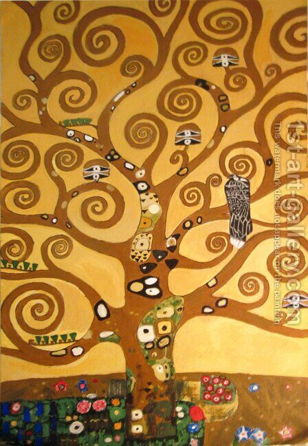 Tree of life cropped by Gustav Klimt - Reproduction Oil Painting