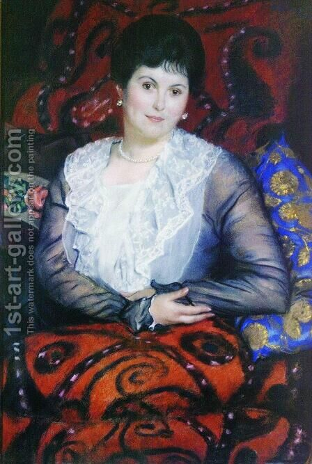 Portrait of Lyubov Borgman by Boris Kustodiev - Reproduction Oil Painting