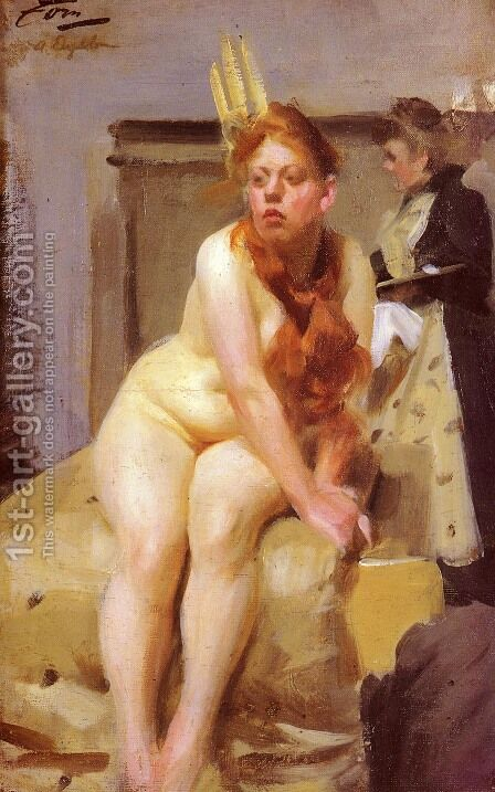 In the studio by Anders Zorn - Reproduction Oil Painting