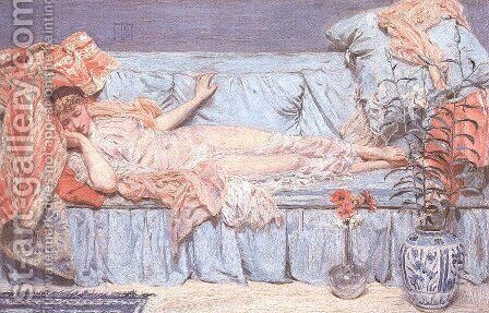 Reclining Model by Albert Joseph Moore - Reproduction Oil Painting
