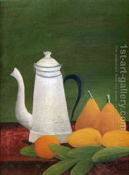Still life with teapot and fruit by Henri Julien Rousseau - Reproduction Oil Painting