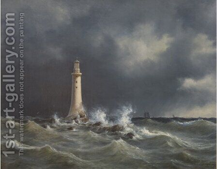 The Eddystone Lighthouse by Anton Melbye - Reproduction Oil Painting